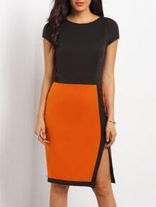 Black Brown Cap Sleeve Color Block Split Dress