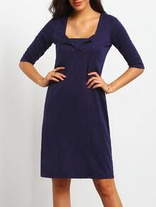 Blue Square Neck Vintage Slim Bodycon Dress
