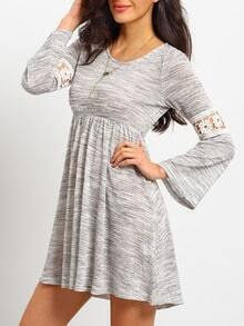Grey Long Sleeve With Lace Dress