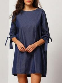 Blue Round Neck With Bow Dress
