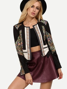 Black Collarless Tribal Print Color Block Crop Jacket