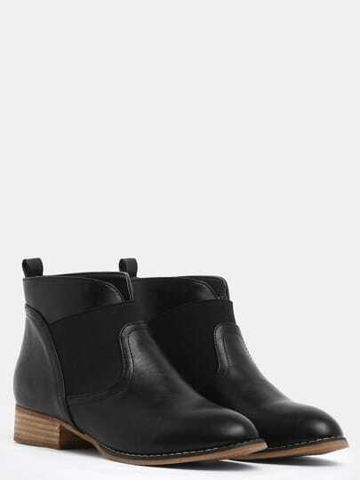 Black Round Toe Elastic Boots