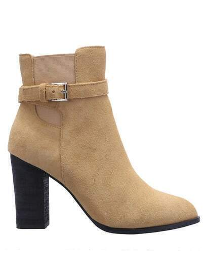 Apricot Pointy Buckle Strap Elastic Boots