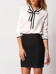 White Knotted Collar Long Sleeve Blouse