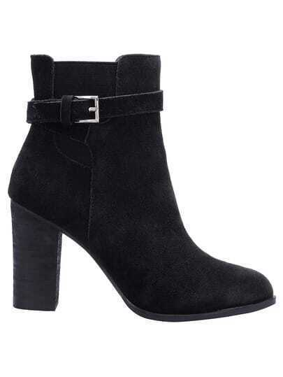 Black Chunky High Heel Buckle Strap Boots