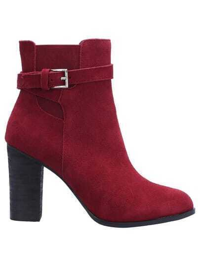 Burgundy Chunky High Heel Buckle Strap Boots
