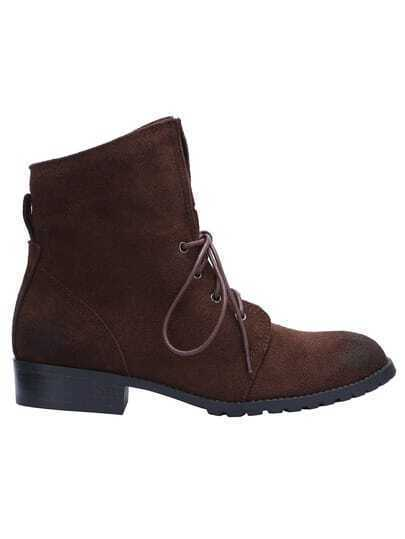 Brown Round Toe Suede Boots