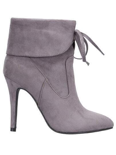 Grey Lace Up High Heeled Boots