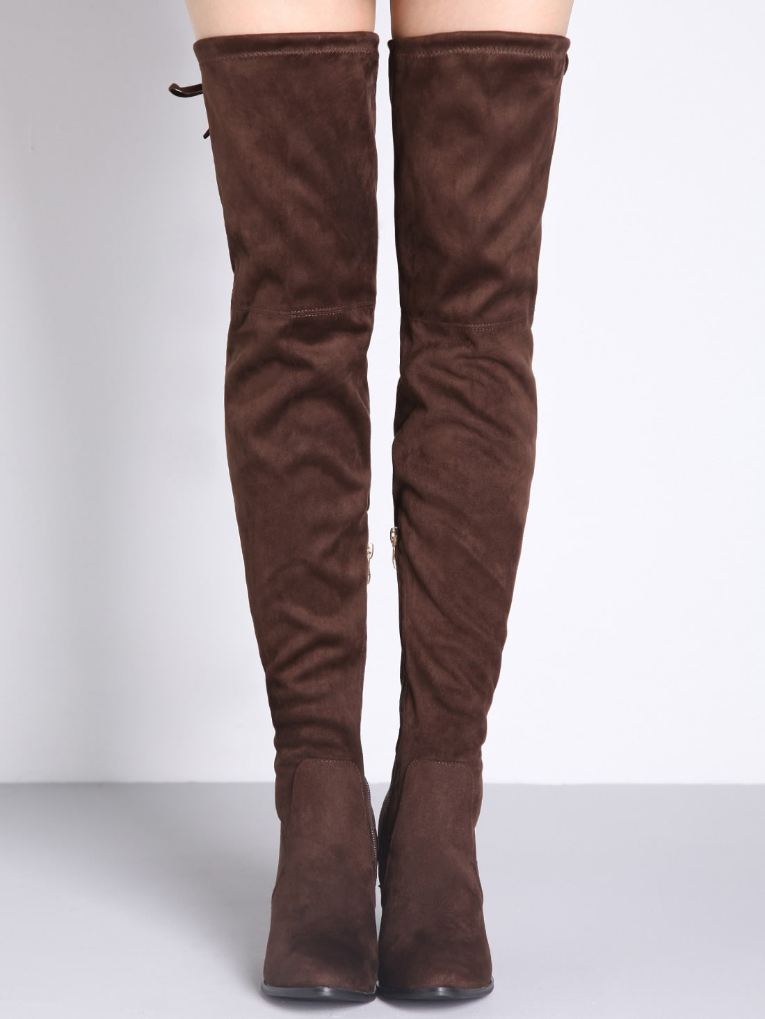 brown lace up the knee high heeled boots shein