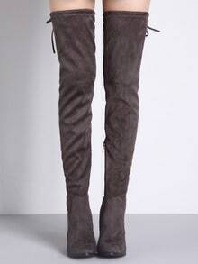 Grey Lace Up Over The Knee High Heeled Boots