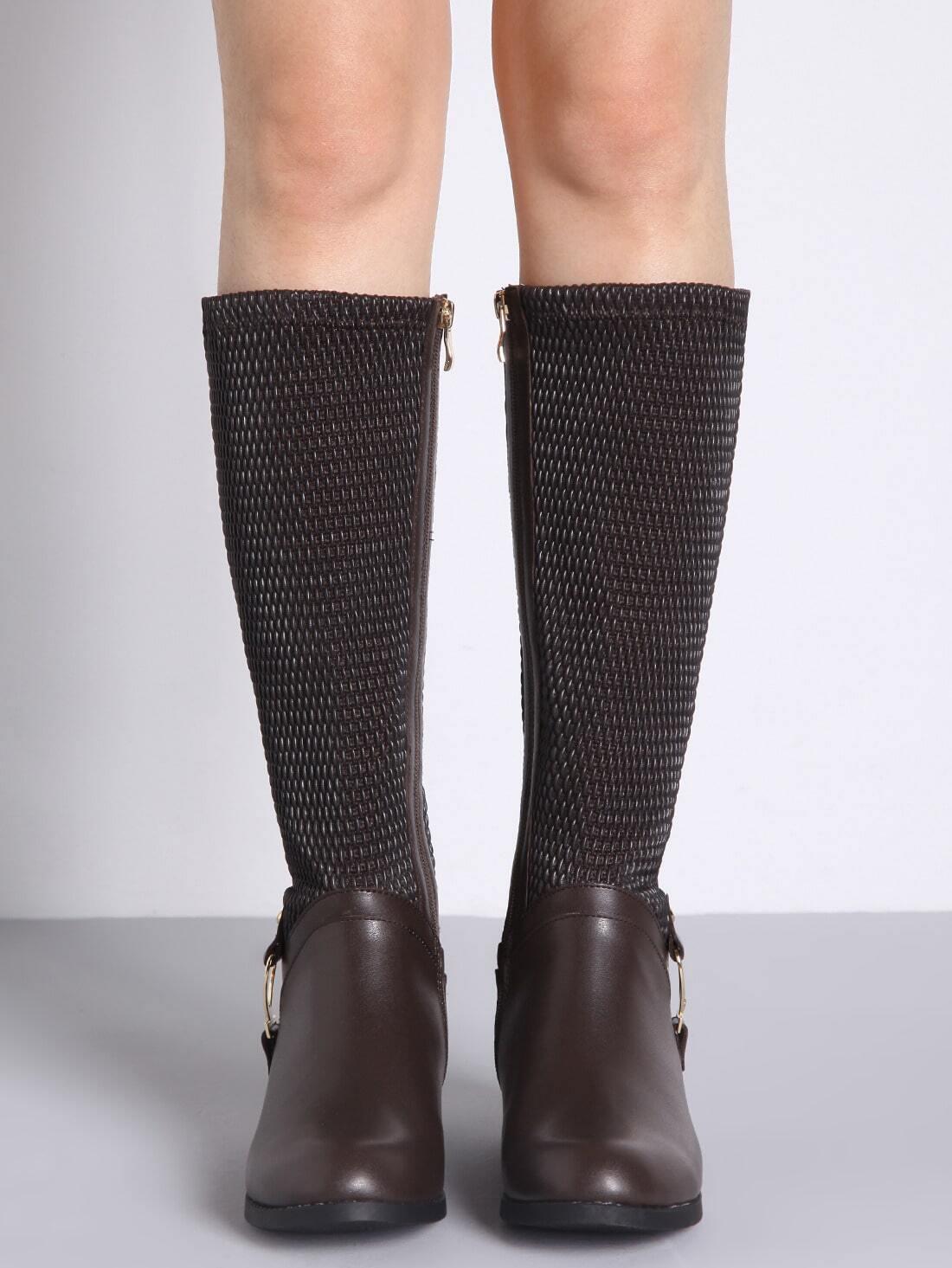 Brown Metallic Embellished Flat Boots