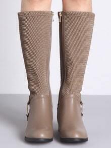 Apricot Metallic Embellished Flat Boots