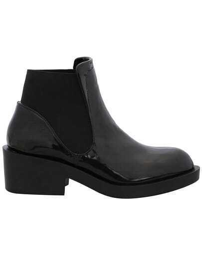 Black Elastic Chunky Boots