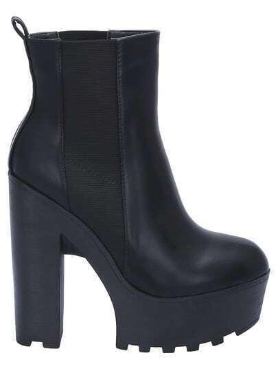 Black Platform Chunky Boots