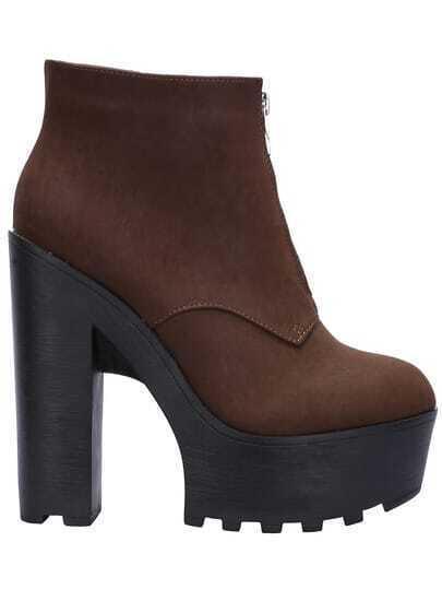 Brown Zipper Platform Chunky PU Boots