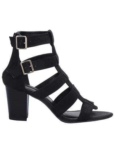 Black Zipper Buckle Strap Sandals