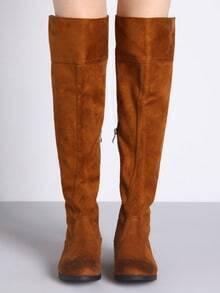 Camel Fringe Flat Boots