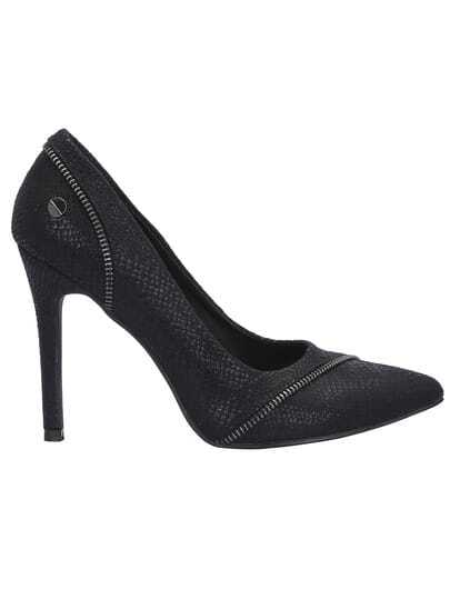 Black High Heel Snakeskin Pumps