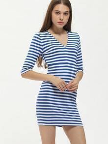 Blue Sailor Striped Deep V Neck Dress