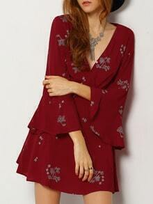 Burgundy Long Sleeve Deep V Neck Embroidered Dress