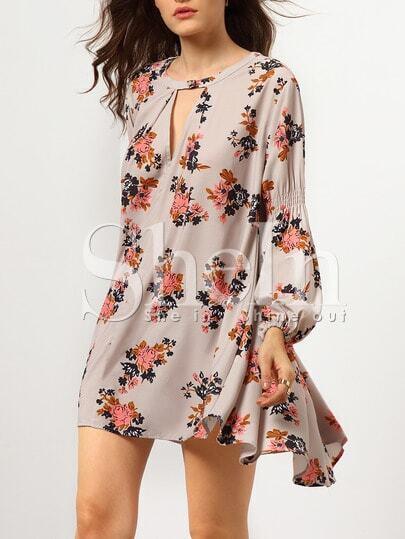 Grey Long Sleeve Floral Dress