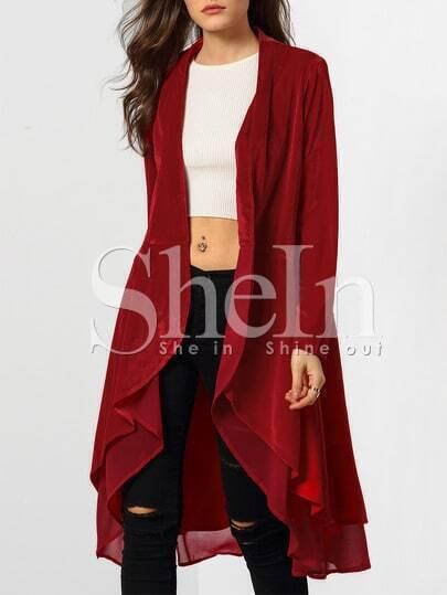 Wine Red Long Sleeve Ruffle Coat