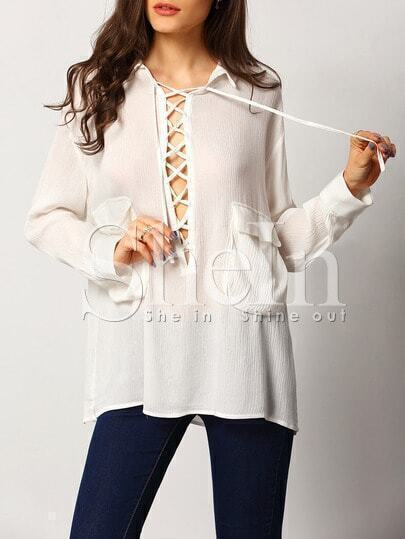 White Long Sleeve Lapel Lace Up Blouse