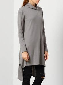 Grey Long Sleeve Split T-Shirt