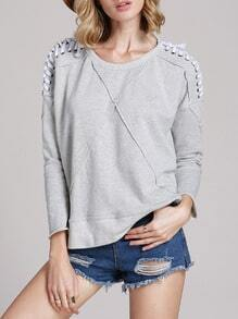 Grey Long Sleeve Lace Up Sweatshirt