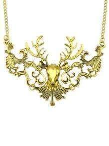 Gold Hollow Deer Necklace