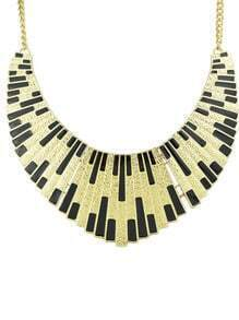 Black Shining Bib Collar Necklace