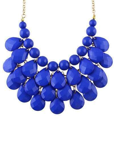 Blue Beads Water Drop Necklace