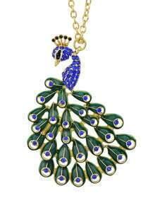 Blue Gemstone Peacock Necklace