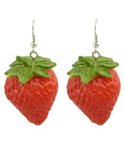 Red Strawberries Dangle Earrings