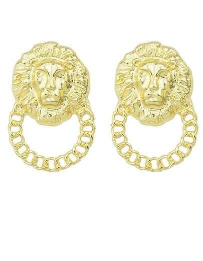 Gold Lion Chain Earrings