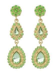 Green Drop Gemstone Flower Earrings