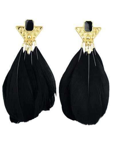 Black Feather Tassel Earrings