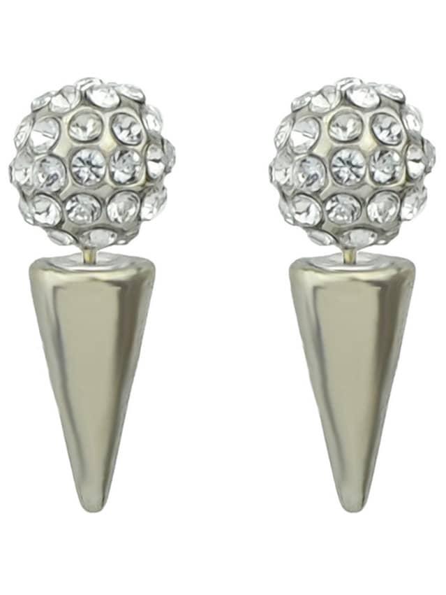 Silver Spike Crystal Spherical Earrings