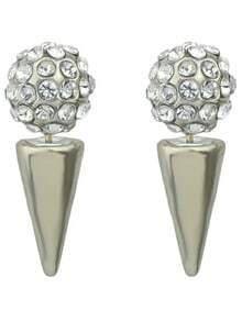 Silver Spike Crystal Spherical Earrings