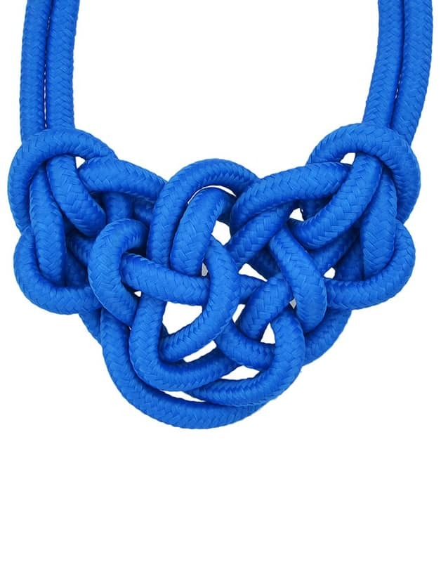 Blue Twine Elastic Necklace