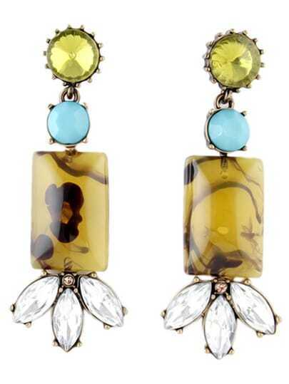 Yellow Gemstone Crystal Earrings