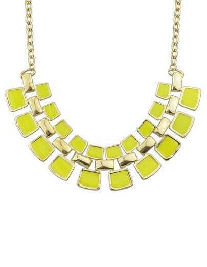 Yellow Geometric Splice Necklace