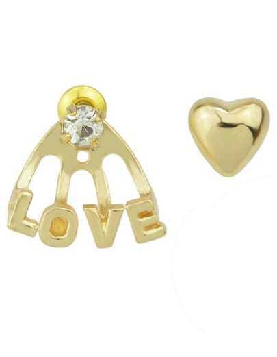 Gold Heart LOVE Stud Earrings