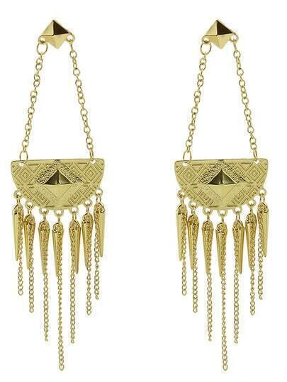 Gold Spike Chain Tassel Earrings