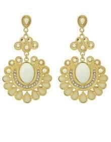 White Gemstone Gold Earrings