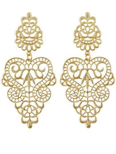 Gold Hollow Out Flower Earrings