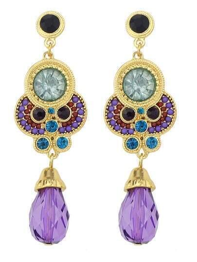 Purple Gemstone Gold Earrings