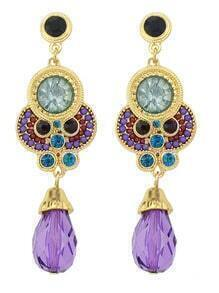 Purple Gemstone Gold Earrings