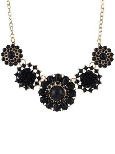 Black Gemstone Flower Necklace