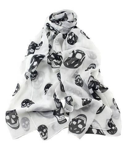 Black Skull Print Scarves